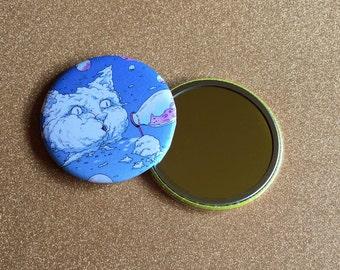 2.25 Inch Hand Mirror - Blue Bubble Blowing Cloud Cat, Cat Artwork, Cat Mirror, Purse Mirror, Compact Mirror, Round Mirror, Pocket Mirror