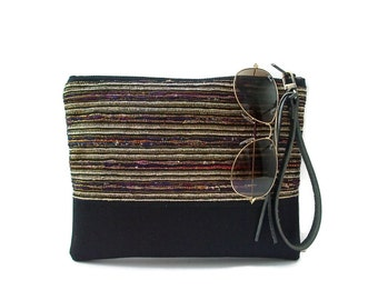 Black Clutch Purse, Wristlet, Evening Bag
