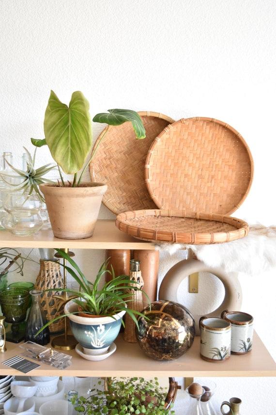 set of 3 flat round shallow bamboo rattan baskets / wall hanging