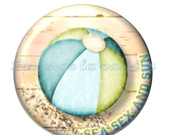 Set of 2 round cabochon glass vacation, beach
