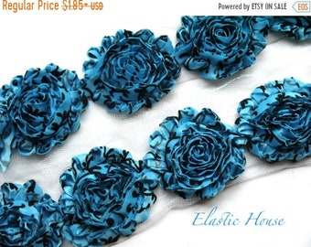 "SALE 30% OFF Sale 2.5"" Shabby Rose Trim- Blue/Turquoise Damask - Chiffon Trim - Hair Acessories Supplies"