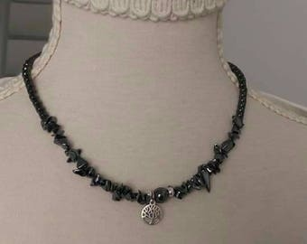 Handmade hematite necklace with tree of life pendant