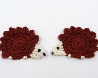 Applique hedgehogs, Crochet appliques, 2 crochet hedgehogs,  cardmaking, scrapbooking, appliques, craft embellishments, sewing accessories.