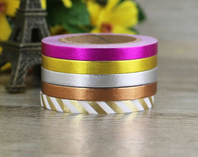 Skinny Metallic Washi Tape - Washi Tape - Paper Tape - Planner Washi Tape - Washi - Decorative Tape - Deco Paper Tape - Multi Roll Pack