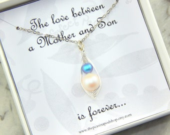 Two peas in a pod necklace, Mother and Son necklace, mothers necklace, new mom gift, baby shower gift