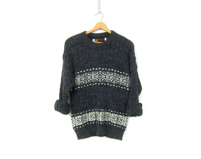 Charcoal Gray Ski Sweater 1970s Preppy Soft Knit White Snowflake Sweater Retro Pullover Preppy Boho Jumper Unisex Vintage Size Medium Large