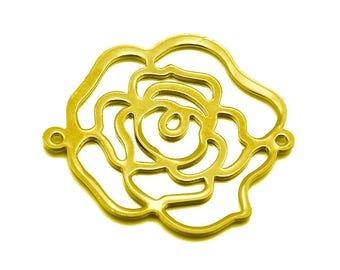 1 x Rose flower metal 32mm filigree connector gold