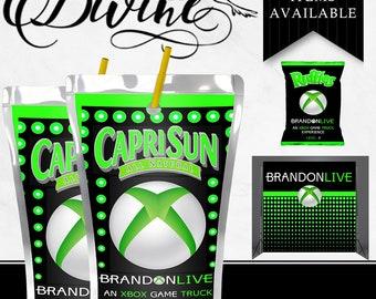 XBOX CapriSun - Juice Label - Juice Box - Custom Favor - XBOX Birthday - Game Party - Gamer - Game On - Digital - Printable - Drinks - Label