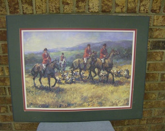 "CLEARANCE Vintage Laurie Snow Hein ""Excitement in the Air"" print Matted 22x28- Fox Hunt Art- Victorian Era Painting- Needs Glass in frame"