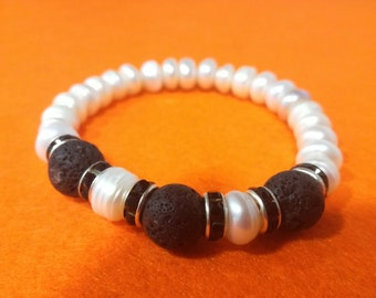 Lava and pearl freshwater bracelet