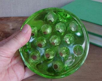 Vintage Green Glass Flower Frog, Vaseline Glass, Large Flower Frog, 13 Holes, Footed, Vase Insert, Garden Collectible, Floral Arranging