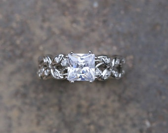 Leaf floral engagement ring.  Princess cut  Moissanite ring. 14k gold unique engagement ring