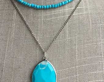 Faceted Turquoise long necklace