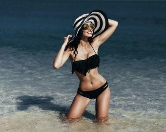 Black and white striped floppy beach hat