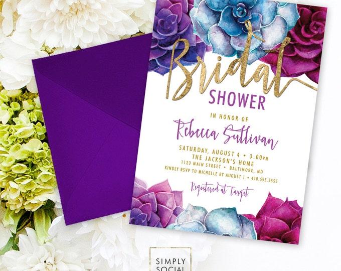 Succulents Bridal Shower Invitation - Purple and Blue Succulent and Faux Gold Foil Watercolor Floral Boho Shower Invitation Printable
