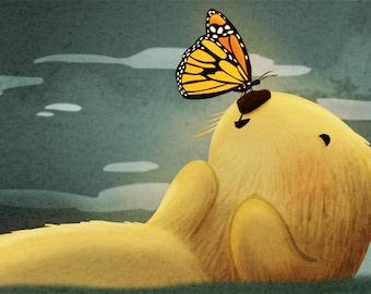 """Monarch Butterfly Art, Sea Otter Print, Monarch Butterfly, Otter Love - """"Monarch"""""""