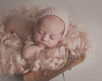 CURLY WOOL Felted Layer - Newborn Photography Prop - Latte - FLOVELIES - Curly Felt, Basket Stuffer, Layering Blanket, Flokati,