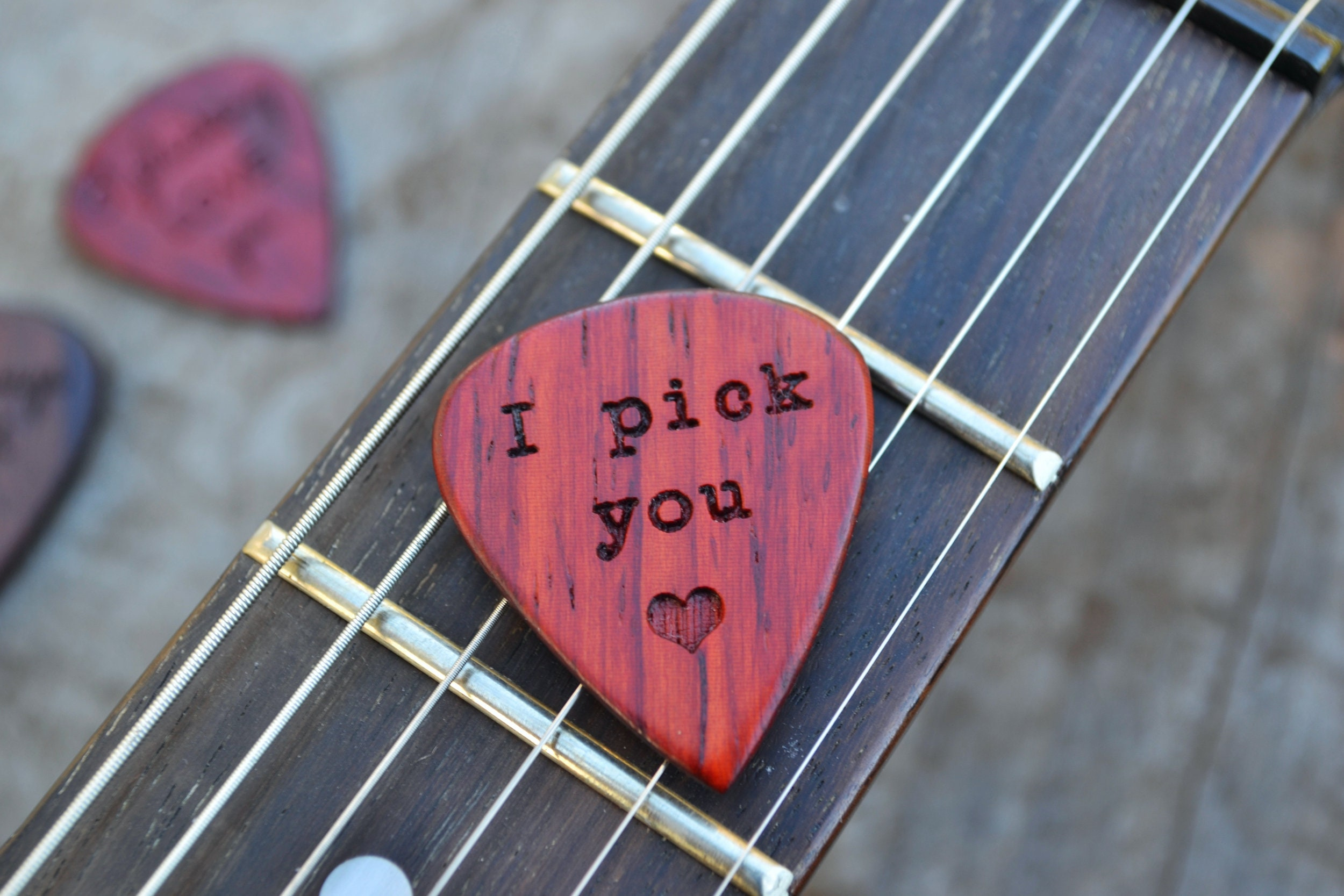 Personalized Guitar Pick Solid Hardwood Engraved
