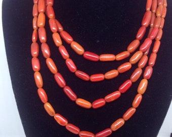 Vintage red coral multi strand necklace
