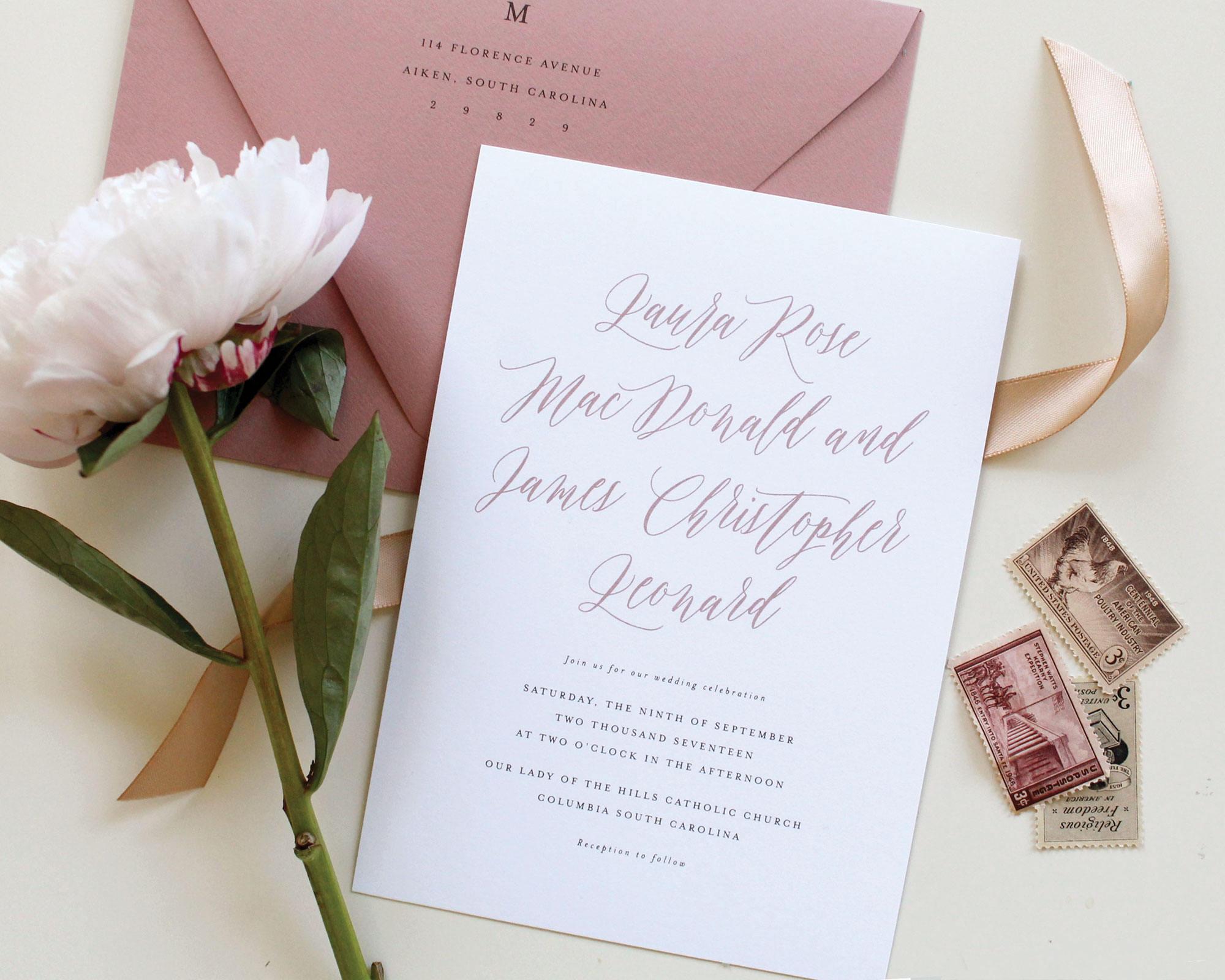 Mauve Wedding Invitations Dusty Rose Wedding Invitation