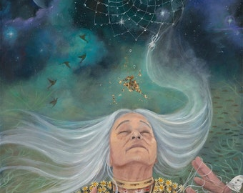 """Grandmother Spider - The weaver - 14""""x21"""" signed Limited edition on fine art paper"""