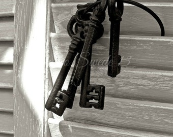 "Black and White Art, Old Key Art, Rustic Key Decor, Shabby Cottage Farmhouse Print, Skeleton Key, Old Shutter Photo- ""Cottage Keys Gray"""