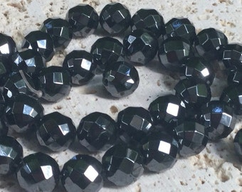 64 Cut Faceted Hematite Beads