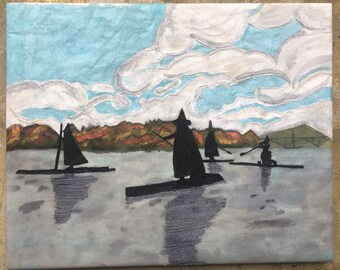 Witches on the Willamette - Print of Original, hand embroidered painting