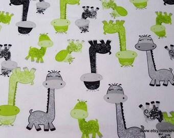 Flannel Fabric - Giraffe Momma and Baby - 1 yard - 100% Cotton Flannel