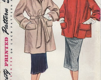1950s Simplicity Pattern No. 4170 : Flared Coat  with Flap Pockets  and Turn Back Cuffs in Two Lengths Bust 30