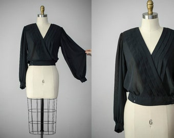 bishop sleeve blouse | cropped blouse | black bishop sleeve top | balloon sleeve blouse | black wrap blouse