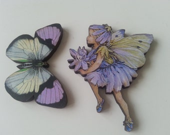 Fairy and Butterfly, brooch, lilac and grey, wood, wooden, brooch, pin, by NewellJewels on etsy