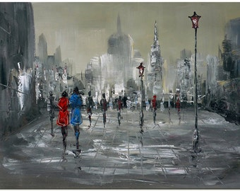 Street Scene - Signed Hand Painted Impressionist Landscape Painting On Canvas