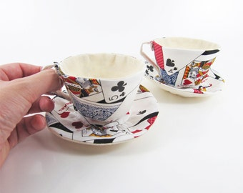 MADE-TO-ORDER ( 1 - 2 Weeks)- Textile Teacup Tidy-Playing Cards