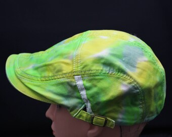 Tie Dye Flat Driving Samuel L Jackson Hat, Green Hippie Ivy Cap