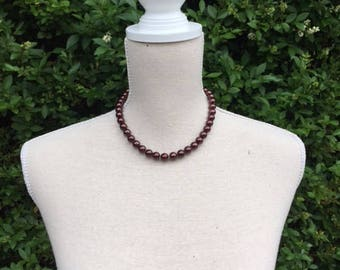 Pearl Necklace Vintage Eggplant Color