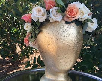 "Custom ""BLYTHE"" FRESH floral halo crown // flower crown, floral halo, fresh flowers, birthdays, weddings, bridal headpiece, flowergirl crown"
