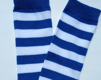 Blue and white legwarmers, striped legwarmers, baby girl legwarmers, baby legwarmers, legwarmers baby, baby boy leg warmers, baby legwarmers