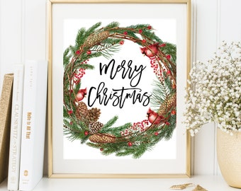 Merry Christmas wreath printable Christmas home decor Christmas Printable Art Holiday Wall Art Winter Decoration Christmas party decoration