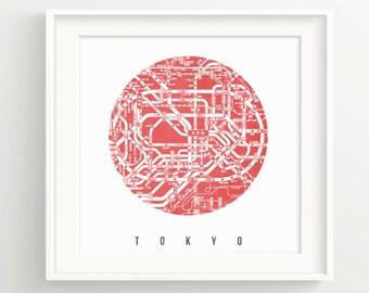 Tokyo Subway Map Print - Japan, Shibuya, Shinjuku, Ginza.
