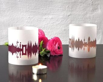 Lantern BARCELONA city light, 2 Tablelight in fume and plum, for Barcelona Lovers, Honeymoon in Barcelona, romantic candlelight, City Shade