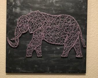 Nail string art elephant
