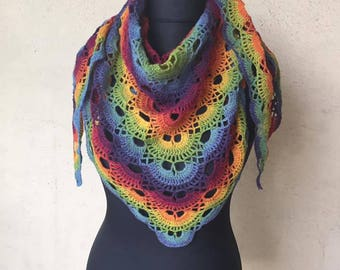 Hand crocheted multicolored shawl