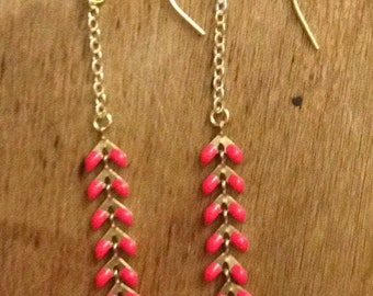 Coral and gold earrings