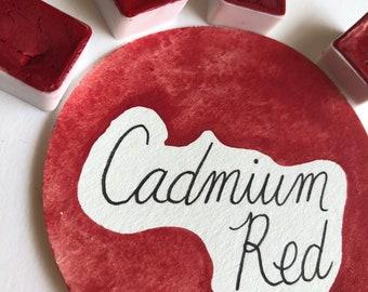 Cadmium Red Half Pan Single Handmade Watercolor