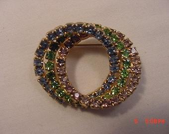 Vintage Pink - Blue & Green Rhinestone Triple Circle Brooch  18 - 586