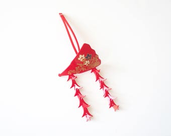 Japanese Hair Ornament Red Kanzashi With Floral Design + Two Petal Strands
