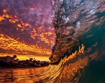 Sunrise Laguna Beach - 12x18 16x24 20x30 24x36 Metal Print - Surf Photography - Water Photography - Modern Art - Wall Art