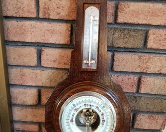 Antique Vintage English Banjo  Barometer and Temperature Gauge.