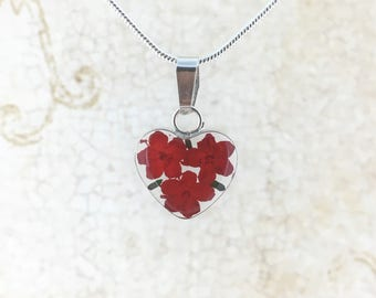 Mother's Day Heart Necklace,Sterling Silver Miniature Real Red Flowers Clear Heart Shape,Dried Flowers Necklace